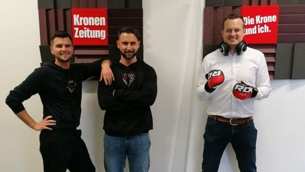 """Daniel Kieler und Marcus Pontasch-Müller sprechen mit """"Krone""""-Podcaster Patrick Jochum über Kampfsport. (Bild: zVg)"""