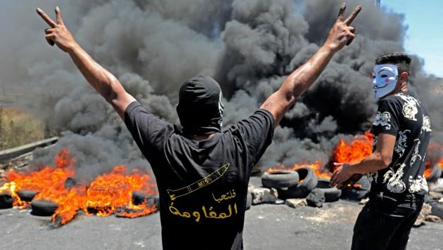 Palästinensische Demonstranten in Ramallah, im besetzten Westjordanland. (Bild: AFP)