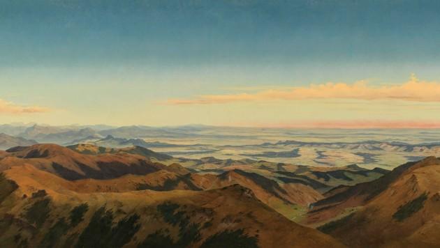 Markus Pernhart: Großes Panorama der Koralpe, Bild 3: Handalm, Frauenkogel und Großer Speikkogel, Öl auf Leinwand, 92 x 190 cm (Ausschnitt aus dem dritten Teil des vierteiligen Panoramas) (Bild: dorofotograf2)
