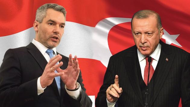 Das Verhältnis zwischen Innenminister Karl Nehammer (ÖVP) und dem türkischen Präsidenten Recep Tayyip Erdogan ist aktuell aufgrund des Nahost-Konflikts belastet. (Bild: BOY-stock adobe.com, ATTILA KISBENEDEK, Krone KREATIV)