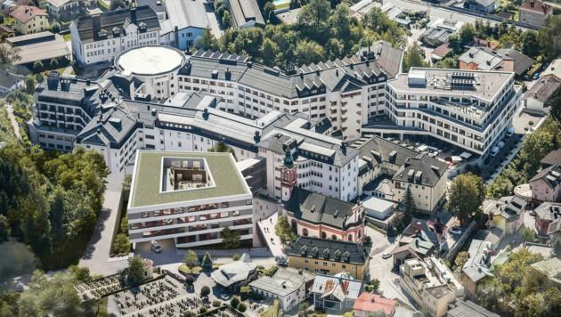 Auf dem Gelände des ehemaligen Kinderspitals im nördlichen Bereich des Klinikums entsteht ein siebengeschossiger Neubau. (Bild: Kardinal Schwarzenberg Klinikum)