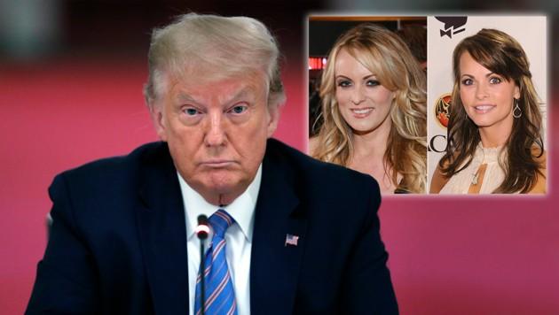 Die Ermittlungen gegen Trump wurden ausgedehnt. Rechts: Pornostar Stormy Daniels und Model Karen McDougal (Bild: APA/AFP; AP; ETHAN MILLER, DIMITRIOS KAMBOURIS / GETTY IMAGES NORTH AMERICA / AFP Krone,Kreativ)