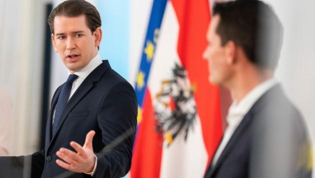 Sebastian Kurz (ÖVP) und Wolfgang Mückstein (Grüne) (Bild: APA/GEORG HOCHMUTH)
