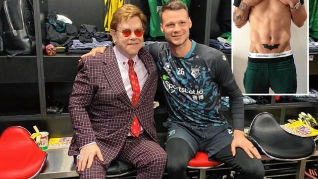 Watfords Edel-Fan Elton John gratulierte Bachmann zum Aufstieg in die Premier League. Für Watfords Fans ist Bachmann Batman - das Symbol trägt er auch auf der Haut. (Bild: zVg)