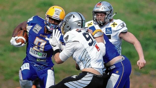 Darrell Adams (am Ball) erzielte in den letzten zwei Spielen sechs Touchdowns. Auch gegen die Vikings am Samstag? (Bild: GEPA pictures)