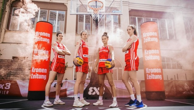 Damen-3x3-Nationalteam: (v. li.) Anja Fuchs-Robetin, Camilla Neumann, Rebekka Kalaydijev, Sarah Sagerer (Bild: Urbantschitsch Mario)
