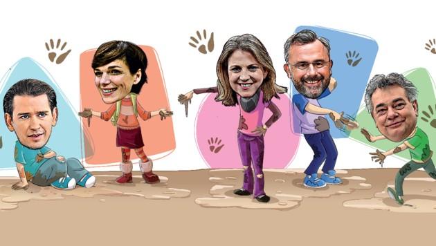 Regierung und Opposition greifen bei ihren gegenseitigen Vorwürfen in den Schmutzkübel und wundern sich, wenn am Ende alle angepatzt sind. (Bild: stock.adobe.com, Krone KREATIV)