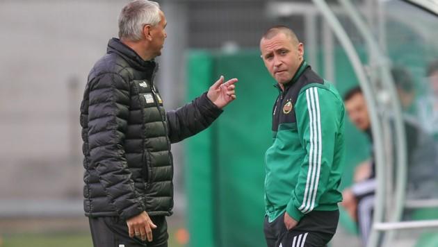 Austria-Klagenfurt-Trainer Peter Pacult (li.) mit seinem Ex-Schützling, dem nunmehrigen Rapid-II-Trainer Steffen Hofmann (Bild: GEPA pictures)