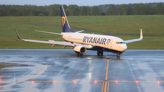 Die Boeing 737-8AS von Ryanair bei der Landung in Vilnius (Bild: AFP)