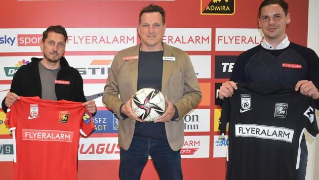 Marcel Ketelaer (Sportdirektor), Andreas Herzog und Thomas Drabek (Geschäftsführer) (Bild: APA/FC FLYERALARM ADMIRA)