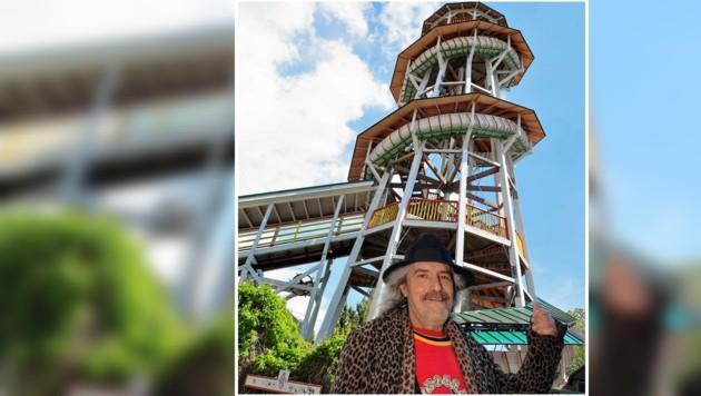 Der Holzturm steht unter Denkmalschutz. Betreiber ist Samy Konkolits. (Bild: Tomschi Peter)