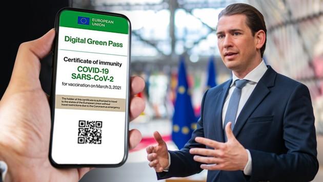 Kurz zeigte sich in Brüssel erfreut über die EU-Einigung beim digitalen Grünen Pass. (Bild: APA/BKA/ARNO MELICHAREK; stock.adobe.com, Krone KREATIV)