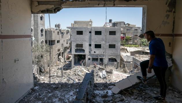 """Die USA haben den Palästinensern einen """"erheblichen Beitrag zum Wiederaufbau des Gazastreifens zugesichert. (Bild: AP)"""
