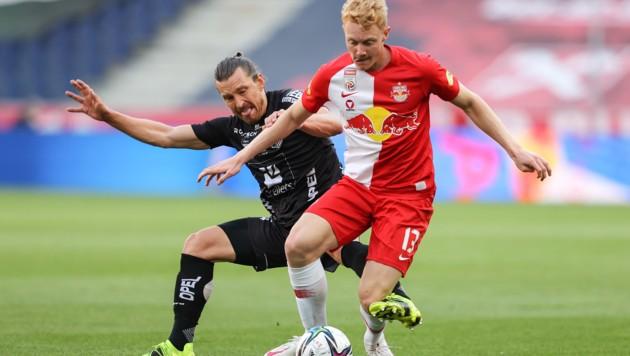 Nicolas Seiwald (re., gegen WAC-Akteur Wernitznig) steht im U21-Kader von Teamchef Werner Gregoritsch. (Bild: GEPA pictures)
