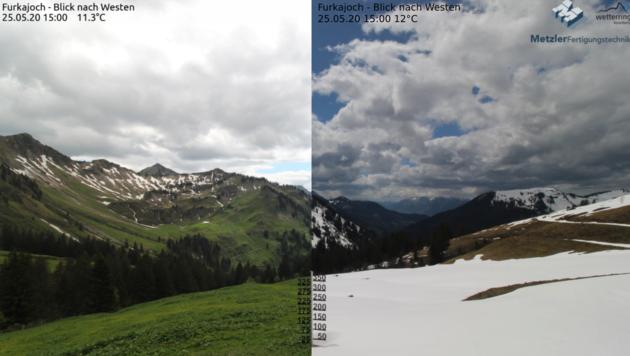 Direkter Vergleich: Am Furkajoch liegt heuer (re.) noch deutlich mehr Schnee als vor einem Jahr (li.). (Bild: foto-webcam.eu)