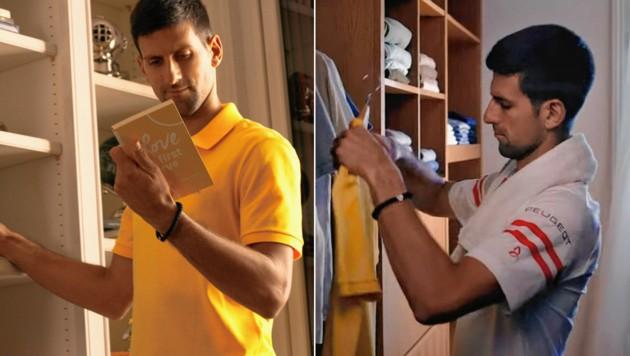 Novak Djokovic ist im Raiffeisen International Spot zu sehen und sucht sich dabei nicht nur ein schönes Poloshirt aus. (Bild: Raiffeisen)
