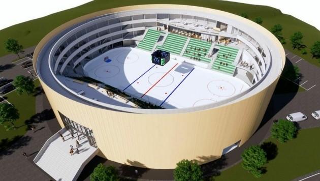 So soll sie aussehen, die neue Halle in Andelsbuch für Eishockey, Eislauf und eine Disco für die Bregenzerwälder Jugend. (Bild: EC Bregenzerwald)