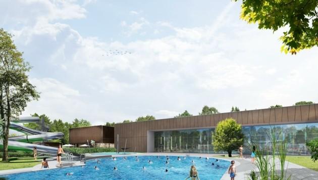 Das neue Konzept sieht in Amstetten nun nicht nur ein neues Hallenbad vor, sondern auch zwei Becken im Freien – inklusive Rutsche. (Bild: Gobli architects & engineers)