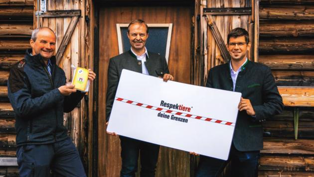Agrarreferent Martin Gruber, Landwirtschaftskammer-Präsident Johann Mößler und Almwirtschaftsverein Obmann Josef Obweger. (Bild: Hannes Wallner)