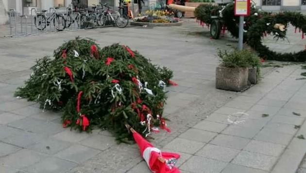 Der Linzer Maibaum nach dem Diebstahl (Bild: zVg)
