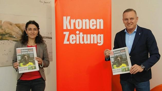 """Ungewöhnliche Allianz gegen Krško: Sandra Krautwaschl (Grüne) und Mario Kunasek (FPÖ) beim """"Krone""""-Gipfel. (Bild: Christian Jauschowetz)"""