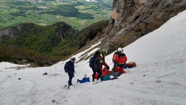 Einsatz für die Bergretter am Untersberg bei Grödig (Bild: Bergrettung Salzburg)