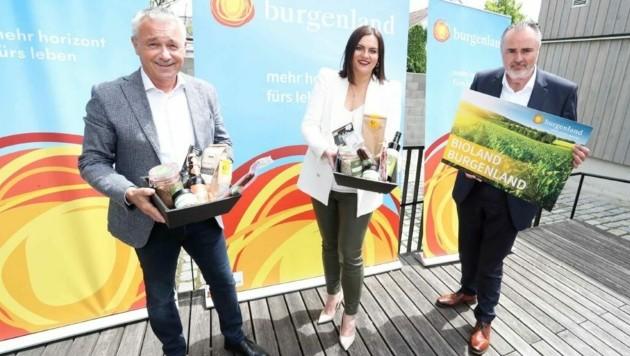 Der neue Geschäftsführer Hannes Anton, LH-Stv. Astrid Eisenkopf und Landeshauptmann Hans Peter Doskozil (v. li. n. re.). (Bild: Reinhard Judt)