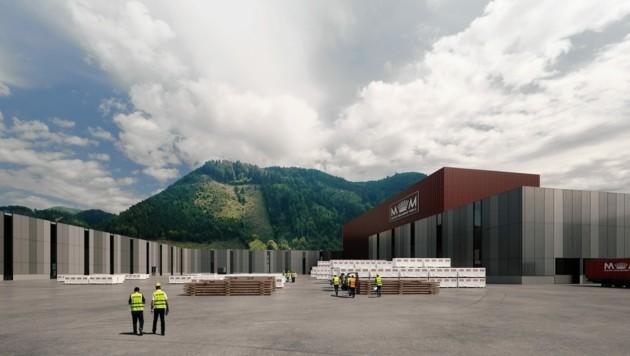 So soll das neue Brettsperrholz-Werk von Mayr-Melnhof in Leoben aussehen, wenn es 2022 fertig ist (Bild: arinco)