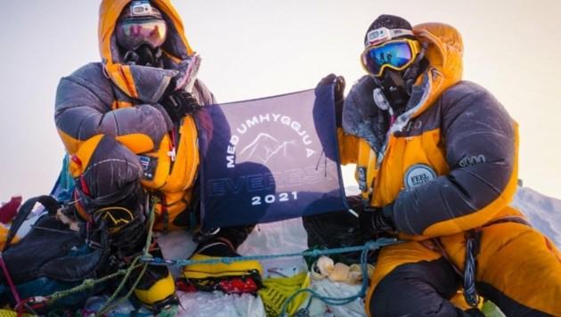 Heimir Fannar Hallgrímsson und Sigurður Bjarni Sveinsson haben erste Symptome ihrer Infektion knapp unterhalb der sogenannten Todeszone (Anm.: diese liegt auf 7500 Meter Höhe) bemerkt. (Bild: Umhyggja/Sveinsson/Hallgrímsson )
