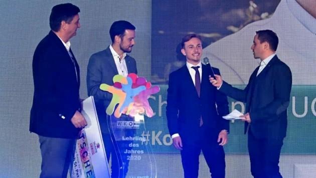 Sieger Christoph Guggi bei der Preisverleihung. (Bild: Talenteakademie/Eventbox Ilja Kriznik)