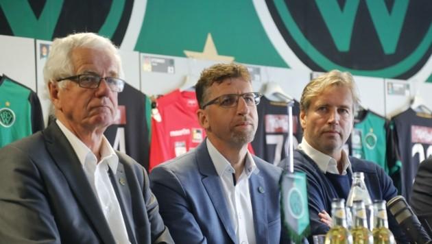 Da war die Wacker-Welt noch in Ordnung: Gerhard Stocker, Alfred Hörtnagl und Jens Duve (von links). (Bild: Birbaumer Christof)