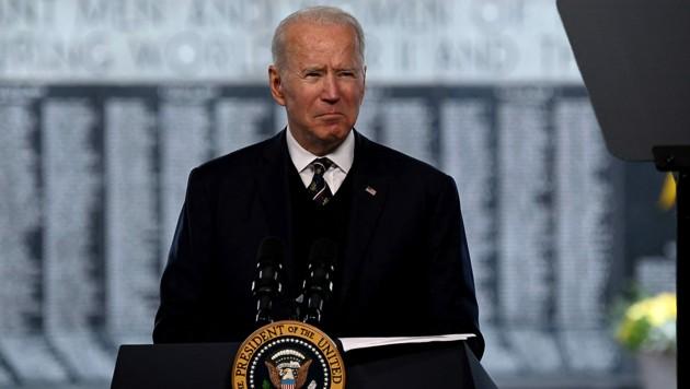 US-Präsident Joe Biden während seiner Rede bei einer Gedenkstätte für gefallene Soldaten (Bild: APA/AFP/Brendan SMIALOWSKI)