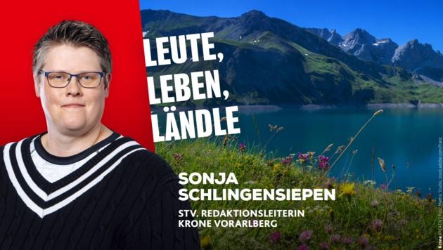 Sonja Schlingensiepen berichtet, was es Neues in Vorarlberg gibt. (Bild: Krone Kreativ/Mathis Studio)