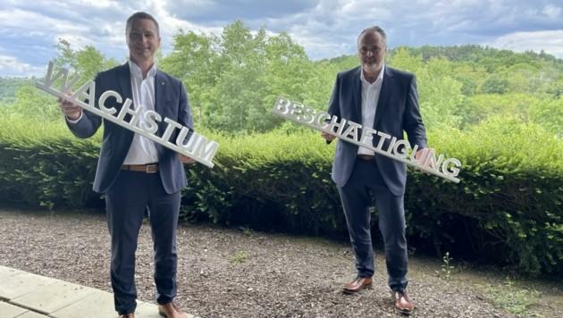 Klubobmann Robert Hergovich und Landeschef Hans Peter Doskozil wollen das Burgenland stärker denn je machen. (Bild: Schulter Christian)