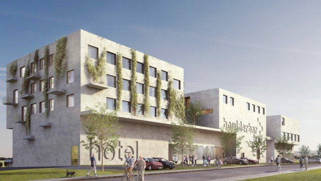 """Da dürfen sich Bewegungshungrige und Businessgäste gleichermaßen freuen: Neben der 2000 Quadratmeter großen """"Boulderbar"""" entsteht bis Herbst 2022 auch ein Hotel mit 63 Zimmern. (Bild: boulderbar/hobby a.)"""