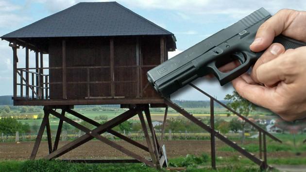 Auf einem Hochstand im Burgenland - ähnlich diesem - kam es zu dem Schießunfall mit der Pistole vom Typ P80. (Bild: APA/Bundesheer, stock.adobe.com. Krone KREATIV)