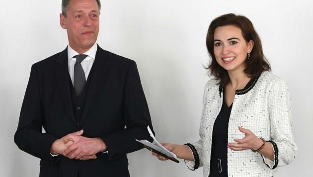 Der mittlerweile suspendierte Sektionschef Christian Pilnacek mit der grünen Justizministerin Alma Zadic (Bild: HELMUT FOHRINGER)