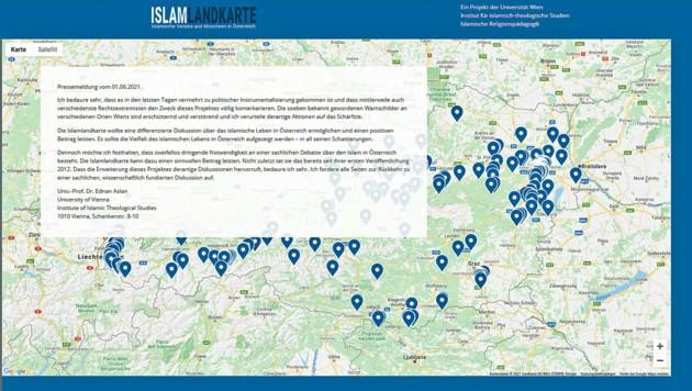 Der Online-Zugang zur umstrittenen Islam-Landkarte soll künftig nur noch über Registrierung möglich sein. (Bild: Screenshot/islam-landkarte.at)