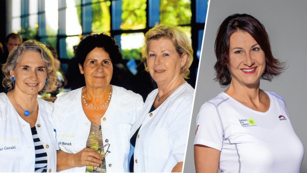 Links: die drei Gründerinnen D. Ganahl, H. Marosch (Mitte) & M. Mair. Rechts: Heute ist Susanne Marosch die Obfrau des Vereins. (Bild: Geben für Leben – Leukämiehilfe Österreich )