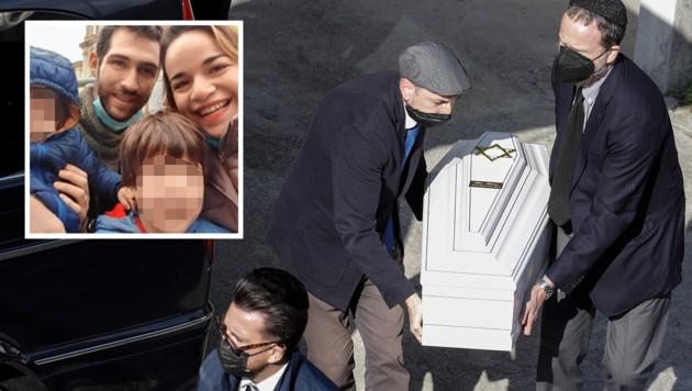 Eitan (vorne) mit Eltern und Bruder, die er alle bei der Seilbahn-Tragödie verloren hat (Bild: AP, zVg, Krone KREATIV)