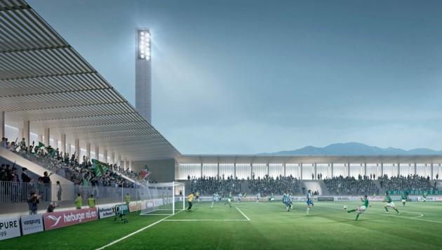 So soll es aussehen, das neue Stadion der Austria - leider bislang nur eine vorläufige Visualisierung. (Bild: Bernardo Bader Architekten)