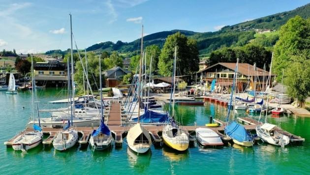 Das wunderschön gelegene Wassersportzentrum, direkt an der Promenade von Mondsee (Bild: Surf - und Segelschule Mondsee)