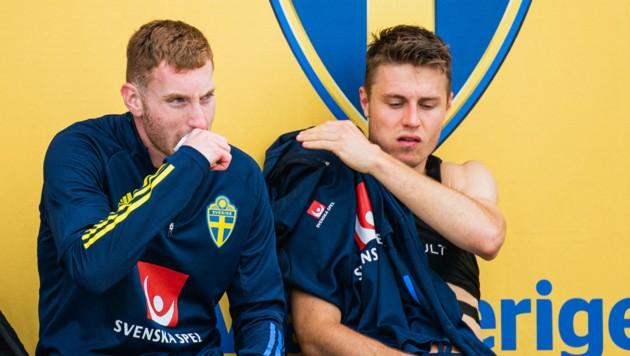 Dejan Kulusevski (L) und Mattias Svanberg (Bild: AFP/Jonathan Nackstrand)