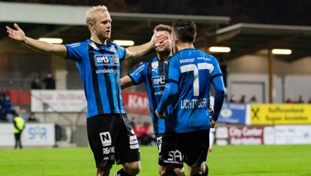Torjäger Peham (links). (Bild: GEPA pictures)