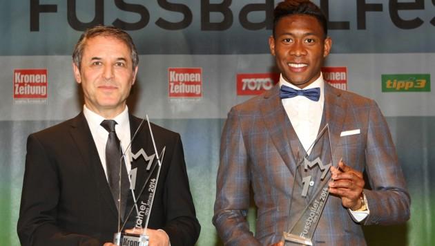 """Marcel Koller und David Alaba beim """"Krone""""-Fußballfest 2015 (Bild: GEPA)"""