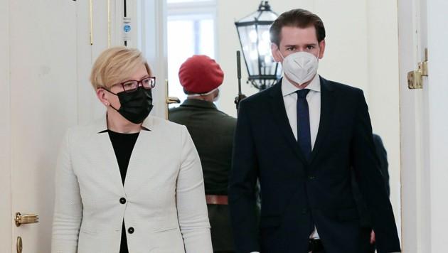 Die litauische Regierungschefin Ingrida Simonyte ist von Kanzler Sebastian Kurz in Wien empfangen worden. (Bild: AP)