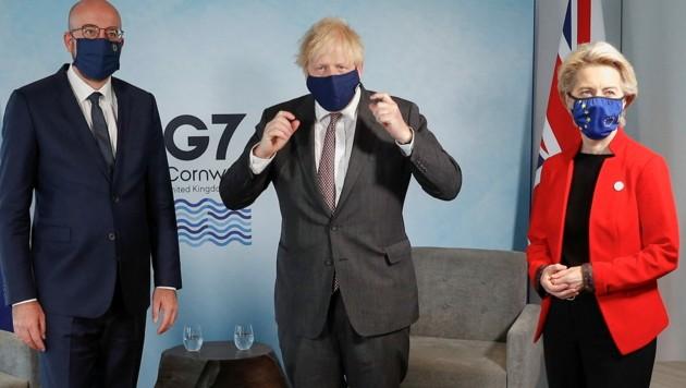 EU-Ratspräsident Charles Michel, Boris Johnson und EU-Kommissionspräsidentin Ursula von der Leyen (Bild: AFP)