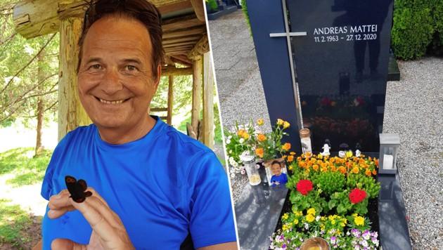 Andreas Mattei wenige Wochen vor seiner Corona- Erkrankung, bei einer Wanderung im Walsertal. Rechts: sein Grab auf dem Friedhof von Lustenau (Bild: zVg)