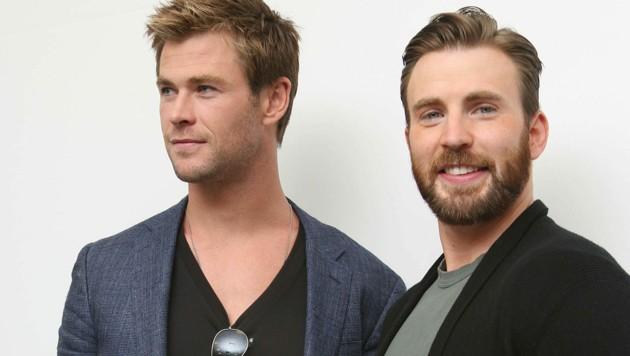 Chris Hemsworth und Chris Evans (Bild: MUNAWAR HOSAIN / Action Press / picturedesk.com)