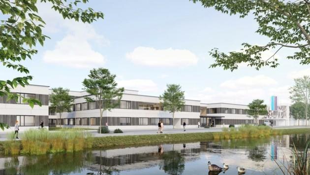 Der Schulcampus in Hollabrunn: Angesichts der Rohstoffknappheit droht eine Explosion der Baukosten – nun wird gerechnet. (Bild: Büro Maurer & Partner ZT)